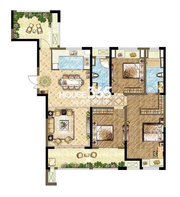世茂香槟湖A2户型 3+1室2厅2卫