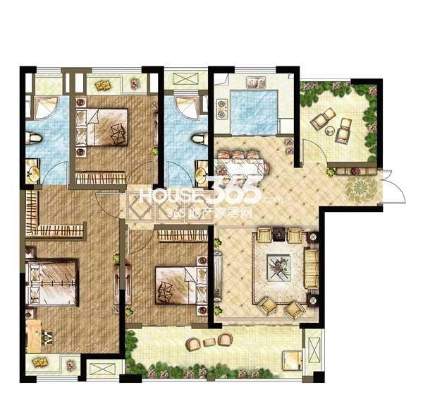世茂香槟湖A3户型 3+1室2厅2卫