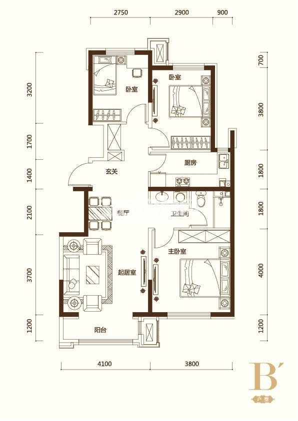 B′户型3室2厅1卫 100平米