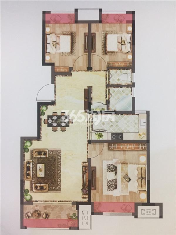 荣耀府89㎡三房两厅一卫户型图