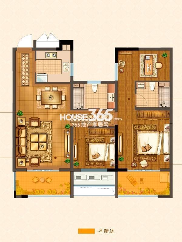 B6#楼D户型 两室两厅一卫 110平