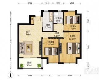 万科翡翠公园3室2厅1卫90平米整租精装
