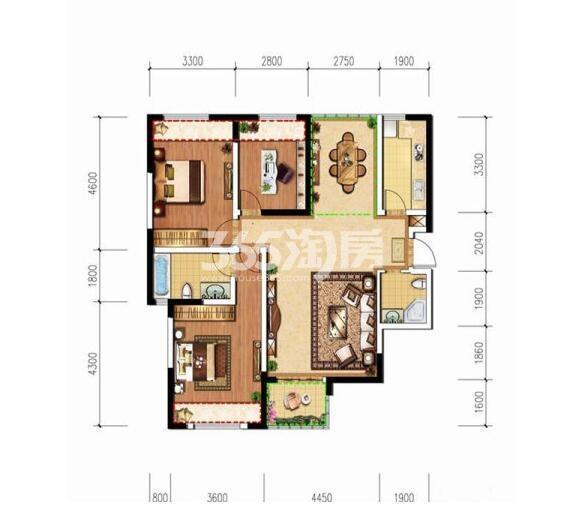 德杰德裕天下G2户型3室2厅2卫1厨108.96㎡