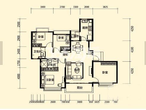 西安恒大雅苑B1四室两厅两卫146.82平