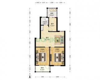 卫岗电信小区2室2厅1卫75.17平米2000年产权房精装