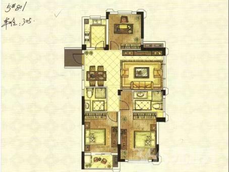 铜锣湾3室2厅2卫113㎡2015年产权房毛坯