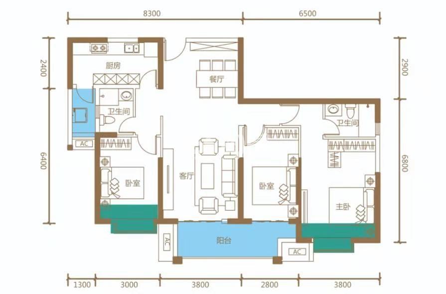 海伦国际6座03户型建筑面积129㎡