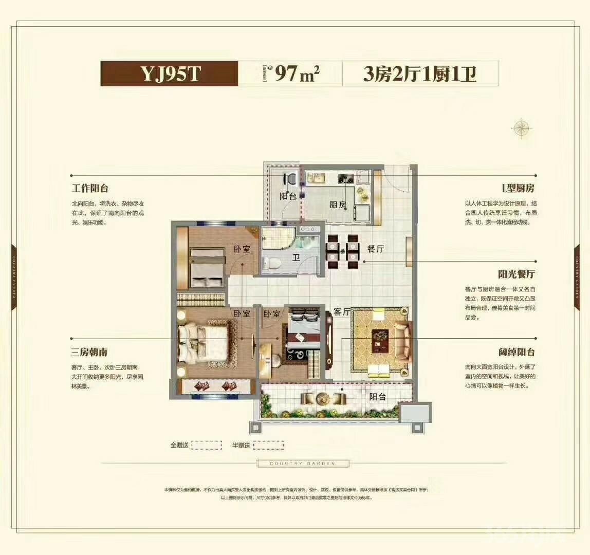 碧桂园大学印象3室2厅1卫97平米2019年产权房精装