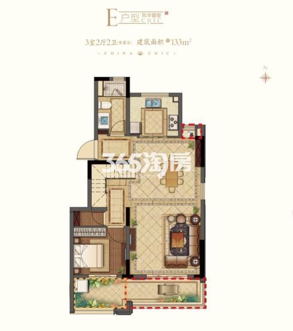 平江风华E户型1楼 上叠133平 3室2厅2卫