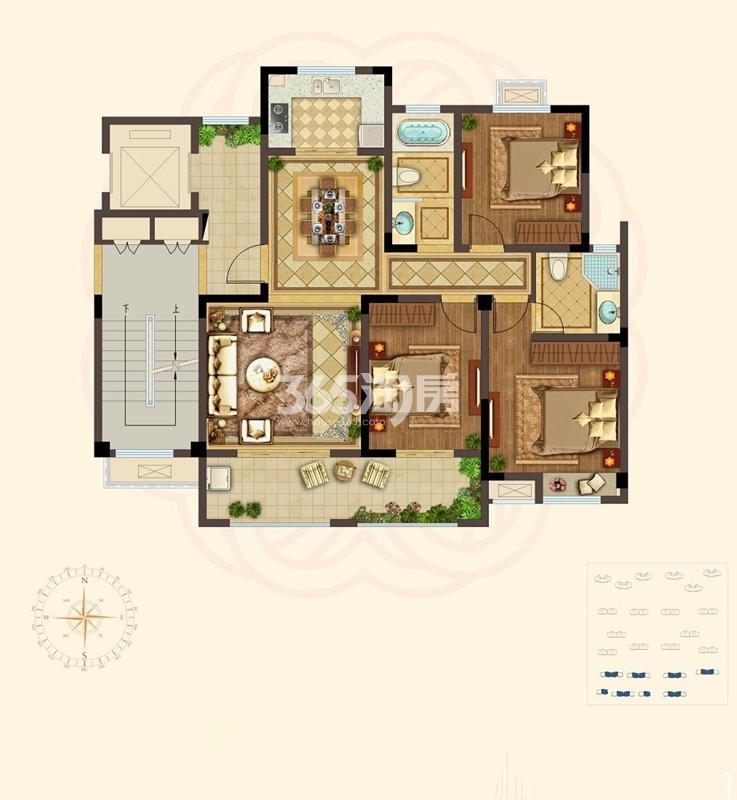B洋房户型 3室2厅 120㎡
