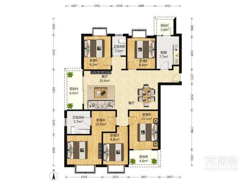 世茂滨江新城二期5室2厅2卫182平米2018年产权房毛坯