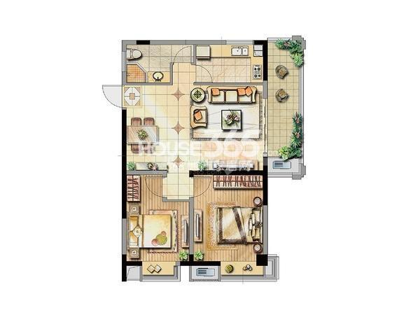 公寓1号楼标准层B1户型