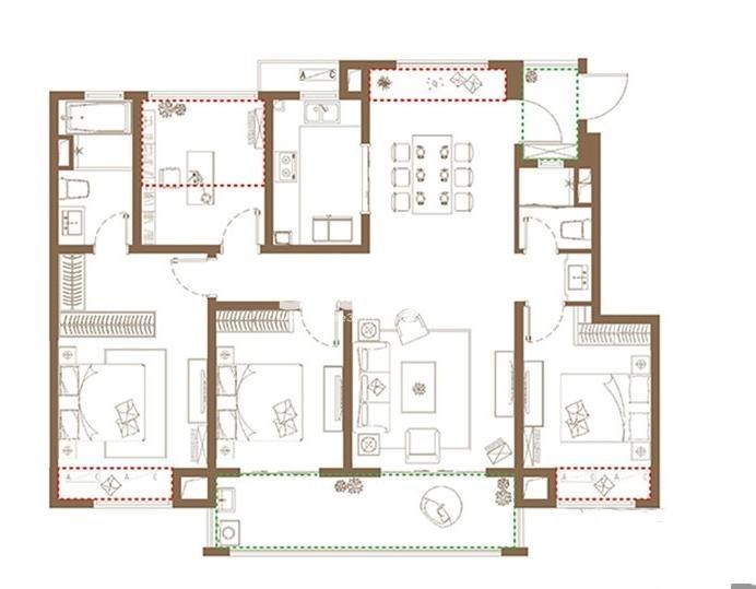 洋房A户型, 4室2厅2卫1厨