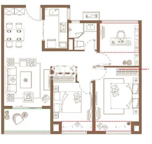 高层B户型, 3室2厅1卫