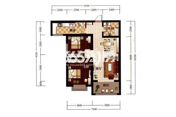 B户型—月半湾:建筑面积约104㎡ 户型:两室两厅一卫