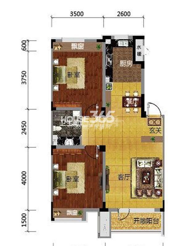 保利溪湖林语  两室两厅一卫一厨-87平