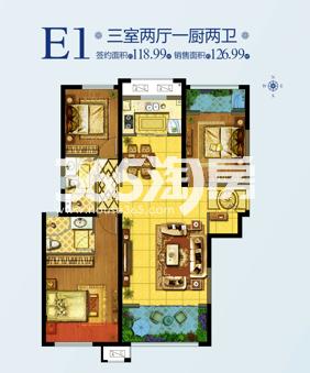 天朗蔚蓝东庭E1户型三室两厅一厨l两卫126.99平
