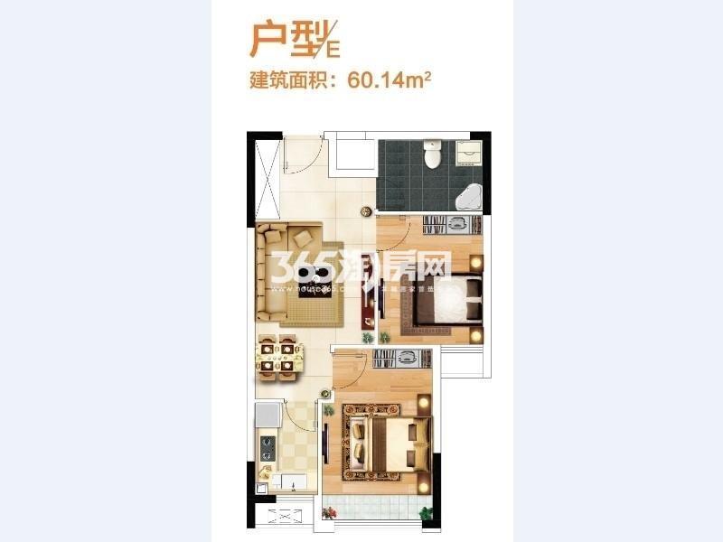 奥特莱斯V公寓2室2厅1卫1厨60.00㎡B12栋和B13A栋E户型