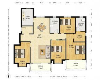中海玄武公馆4室2厅2卫143.00平米整租豪华装