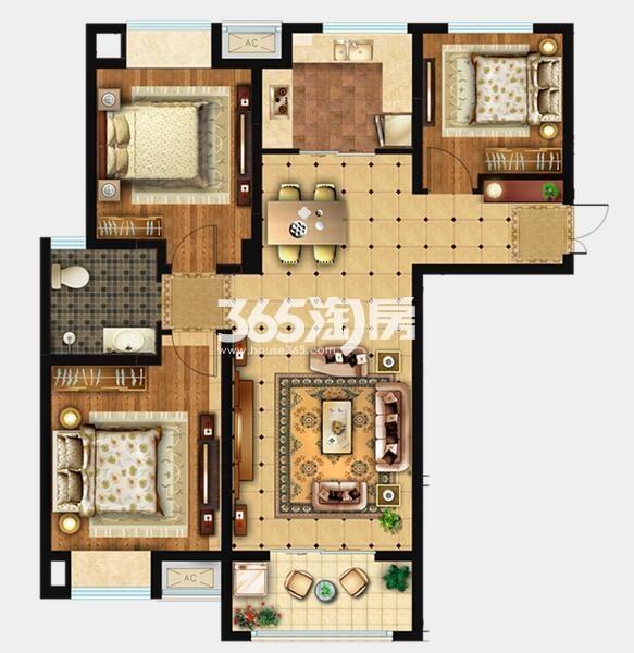D1户型 约108m2 三室两厅一卫