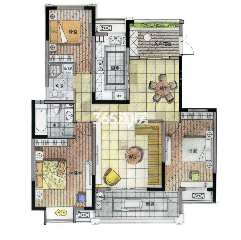 亚东·紫檀C2户型 三室两厅两卫 140㎡