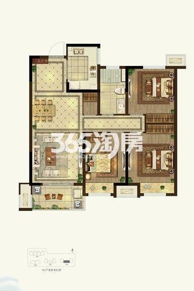 美的云熙府3室2厅1厨1卫106.00㎡D2户型