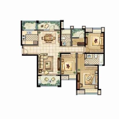 雅居乐林语城4室2厅2卫132平米毛坯产权房2016年建