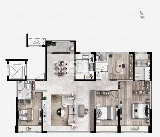天地源龙湖春江天境195㎡四室两厅三卫户型