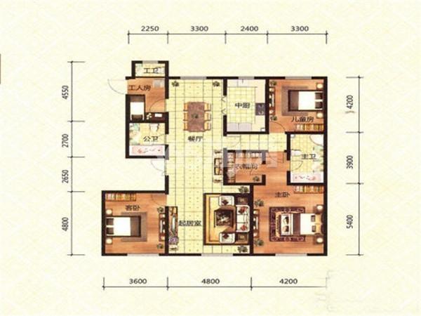 洋房C2户型, 3室2厅2卫, 约187.00平米