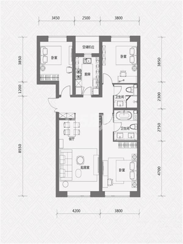 M户型, 3室2厅2卫, 约147.00平米
