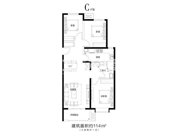 三室两厅一卫114㎡户型