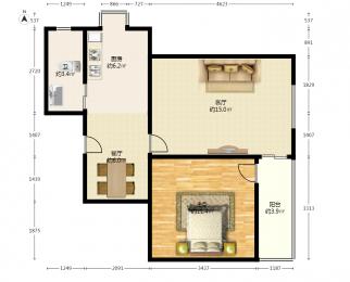鸡鸣山庄2室1厅1卫52.1平米1988年产权房精装