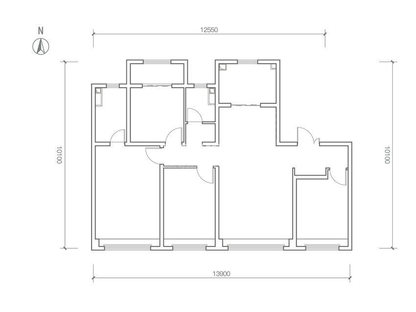 龙湖春江天序142㎡四室两厅两卫B户型低密度多层户型图