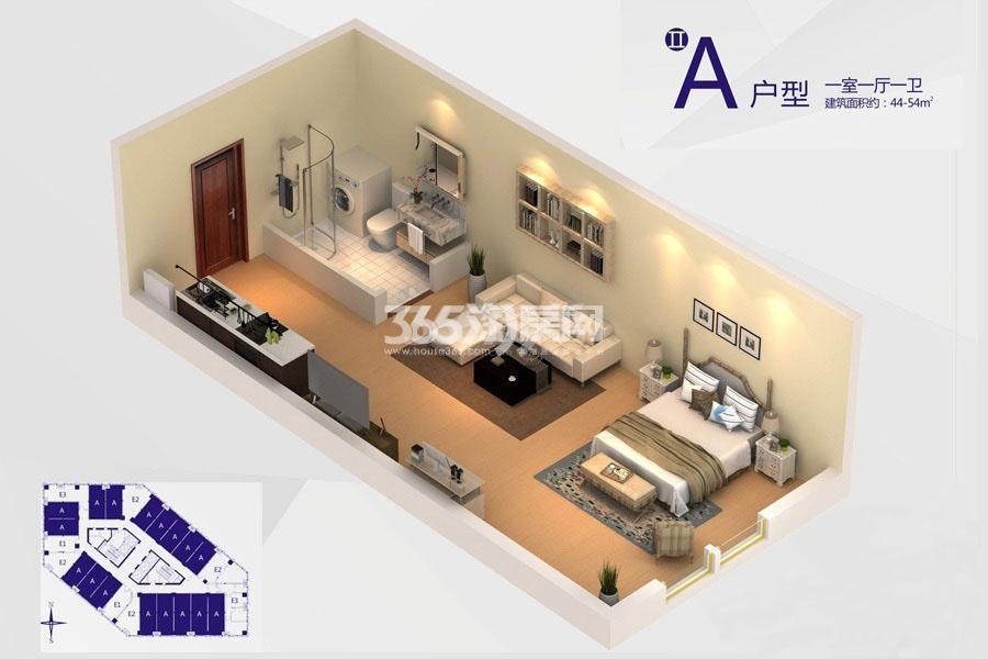 V公馆A户型1室1厅1卫 建筑面积:约44.54㎡