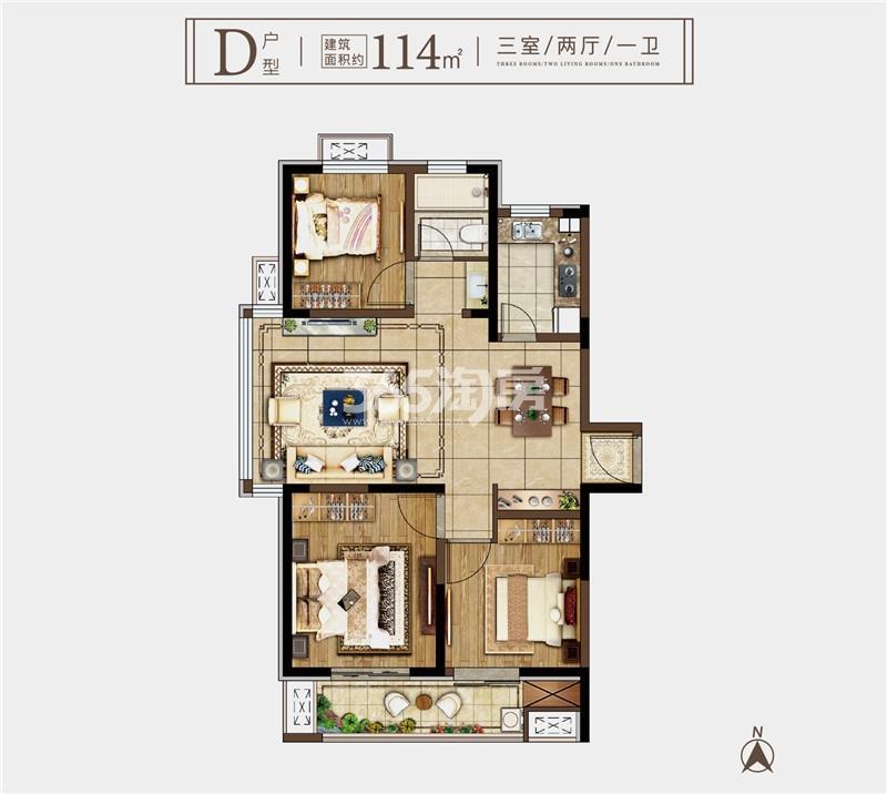 奥园玖珑天境D户型114㎡三室两厅一卫
