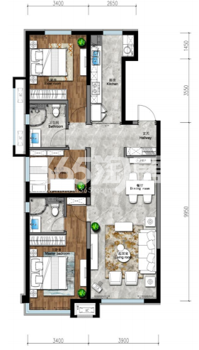 134平 三房两厅两卫