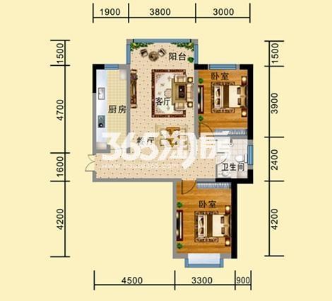 B-1户型 两室两厅一卫一厨 建筑面积约97.54㎡