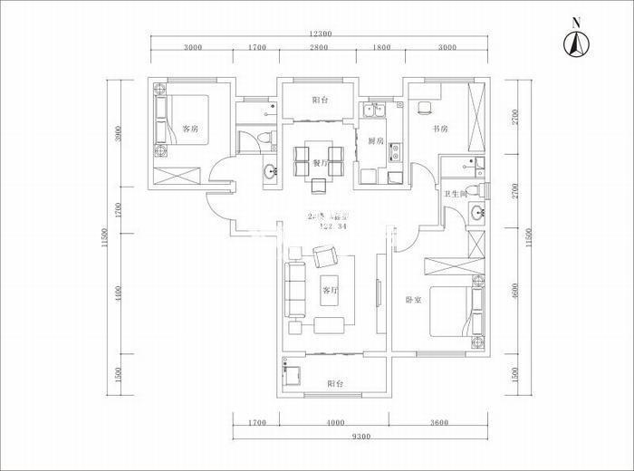 曲江美好时光三室两厅一厨二卫122平米