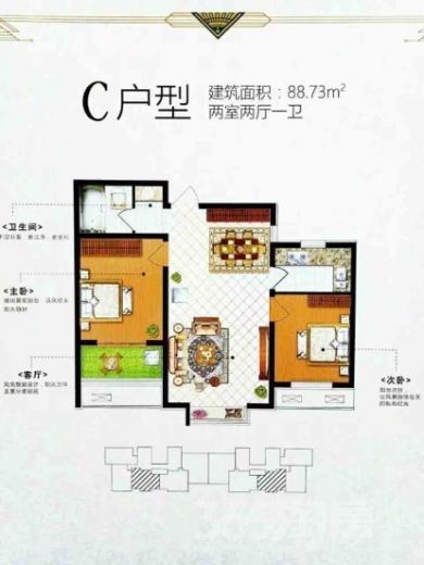 骏景豪庭2室1厅1卫88平米毛坯产权房2017年建