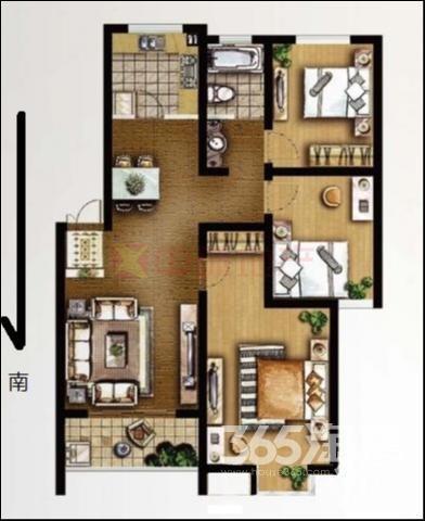 旺运花园3室2厅1卫101平方产权房精装