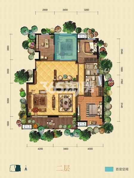 金泰新理城6+1室6厅5卫301.11㎡户型图(二层)