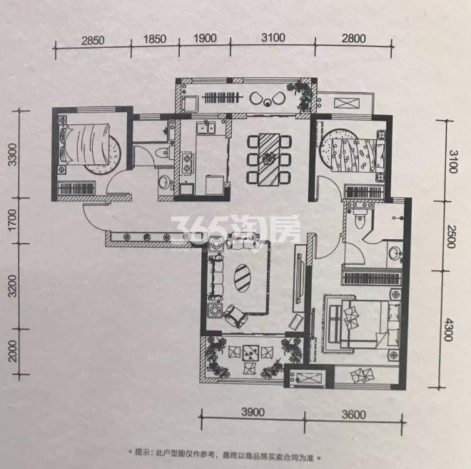 金地南湖艺境114-116㎡户型图