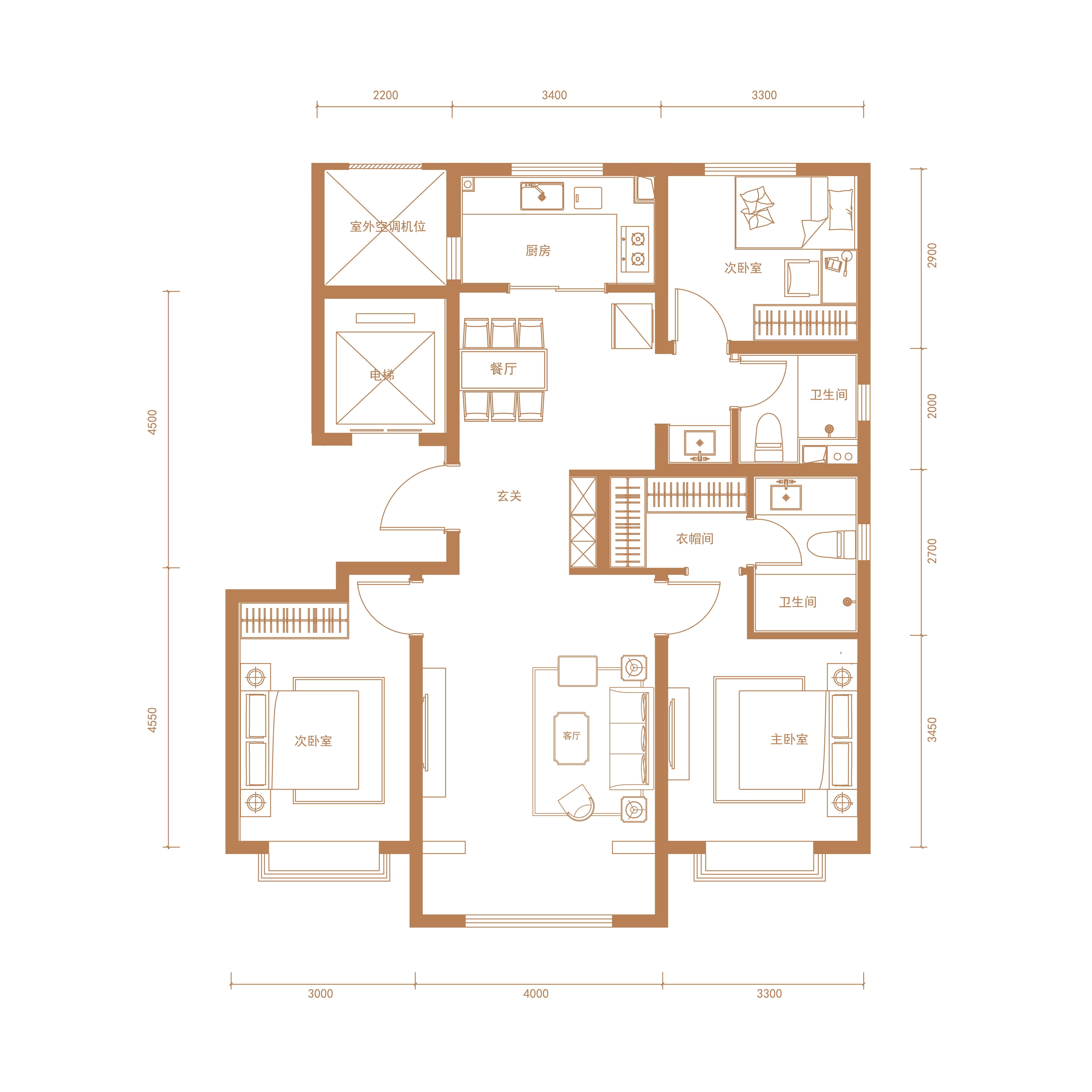 A3户型 124平米 三室两厅两卫