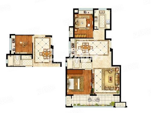 融创枫丹御园洋房98平东边套户型图