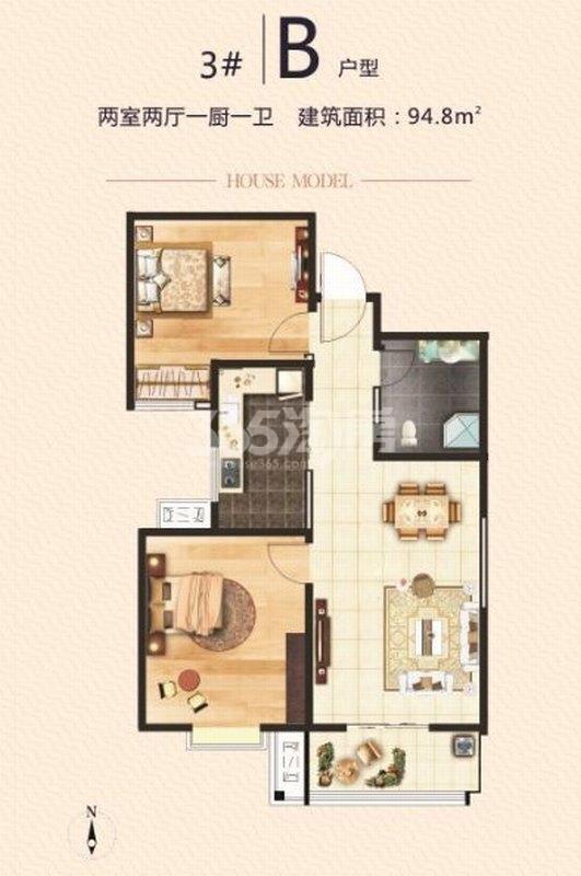 湖畔嘉园3号楼B户型两室两厅一卫94.8㎡