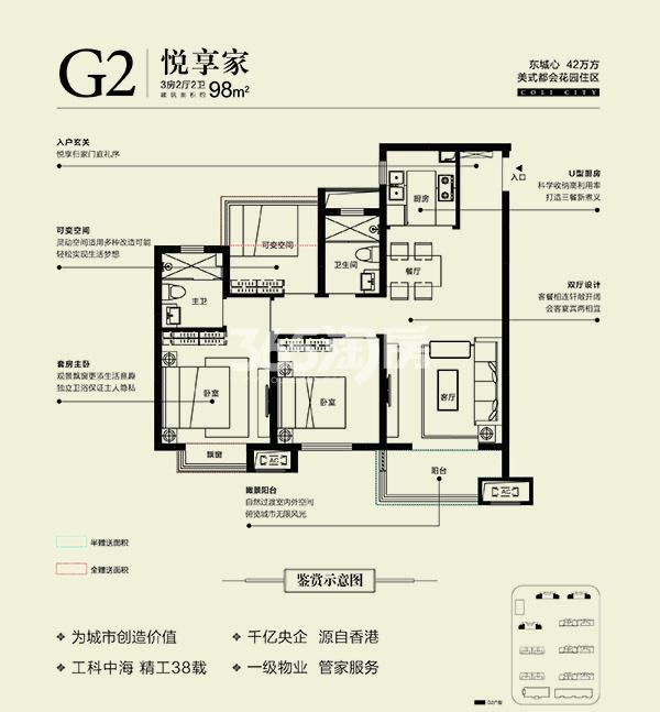 中海城高层G2户型98㎡