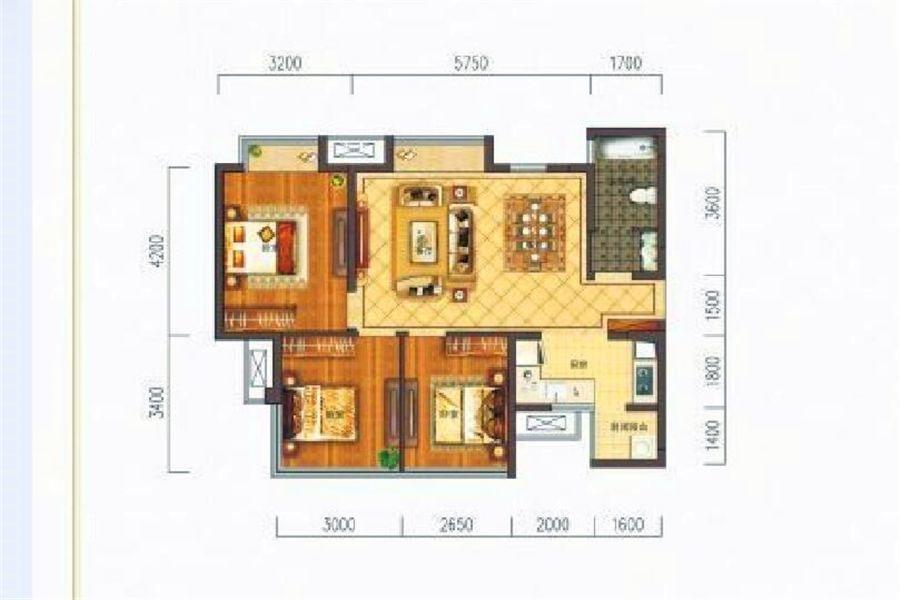 B2户型三房两厅一卫约85㎡