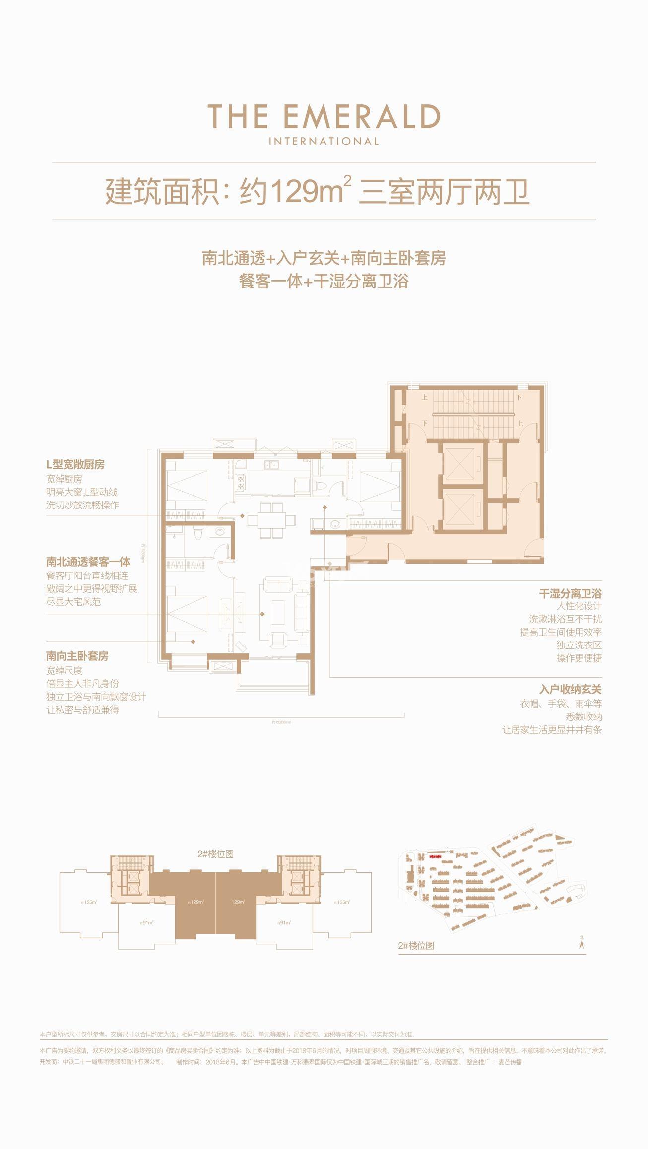 中国铁建万科翡翠国际129㎡三室两厅两卫户型户型图