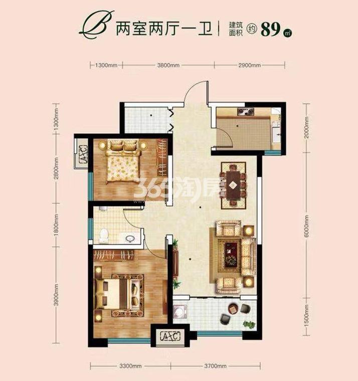 城市锦上两室两厅一卫89㎡户型图