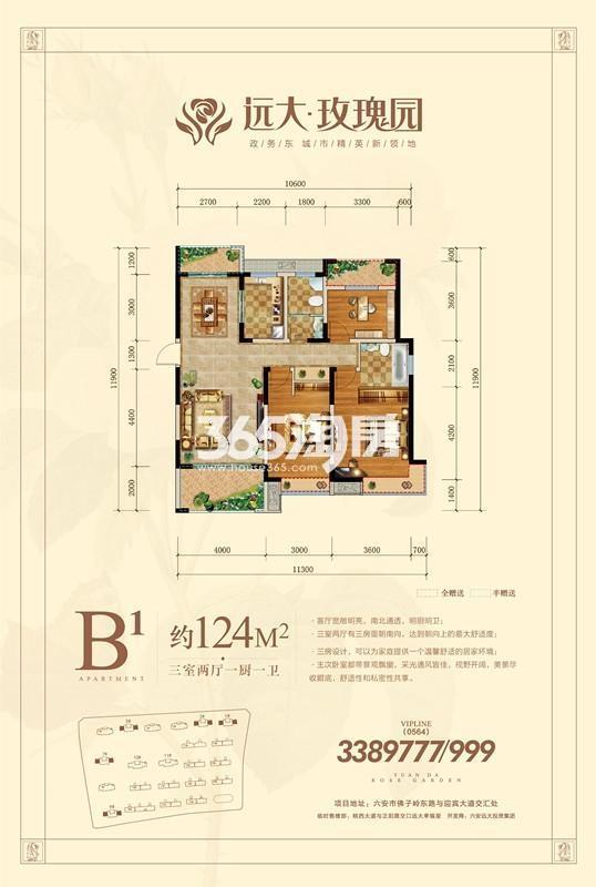 远大玫瑰园高层B1户型图